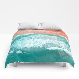 The Break - Turquoise Sea Pastel Pink Beach III Comforters