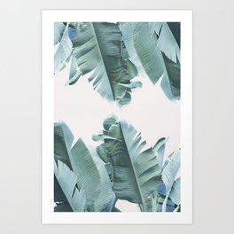 Blue Tropical Banana Leaf Plant Art Print