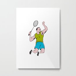 Badminton Player Racquet Striking Cartoon Metal Print