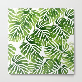 Tropical Leaves - Green Metal Print