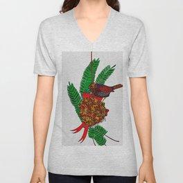 Little Bird In Evergreen Boughs Unisex V-Neck