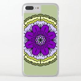 Mandala-purple and green Clear iPhone Case