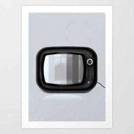 Black and white vintage Tv Art Print