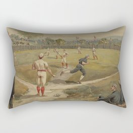 Vintage Painting of a Baseball Game (1887) Rectangular Pillow