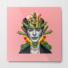pinky frida cactus Metal Print