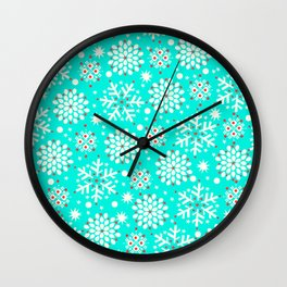 Retro Winter Collection Snowflake Teal Wall Clock