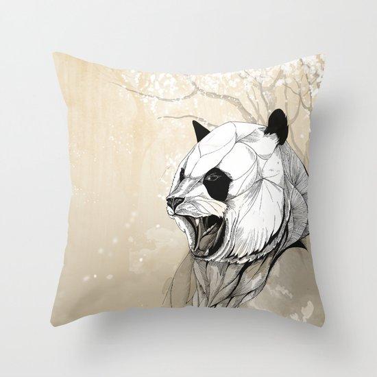Angry Panda Throw Pillow