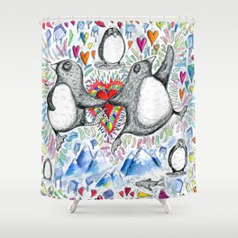 For the Love of Penguins Shower Curtain