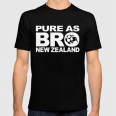 Pure as BRO  New Zealand Kiwi Black Mens Fitted Tee LARGE