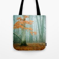woods Tote Bags featuring Autumn Woods by Olivia Joy StClaire