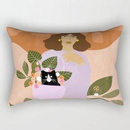 Shopping with Cat Rectangular Pillow