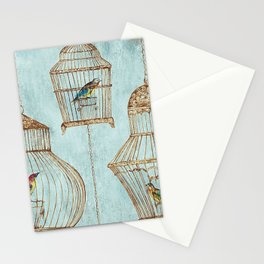 Vintage dream- Exotic colorful birds in cages on teal background Stationery Cards
