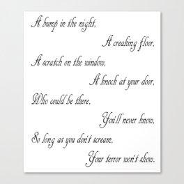 Don't Scream (Poem) Canvas Print