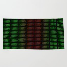 Binary Green and Red With Spaces Beach Towel