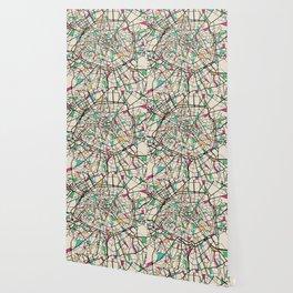 Colorful City Maps: Paris, France Wallpaper