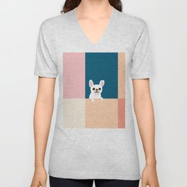 Little_French_Bulldog_Love_Minimalism_001 Unisex V-Neck