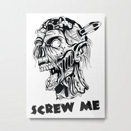 Zombie killer - tattoo, zombie, zombies, apocalypse, halloween, horror, monsters, dead, pop culture, Metal Print