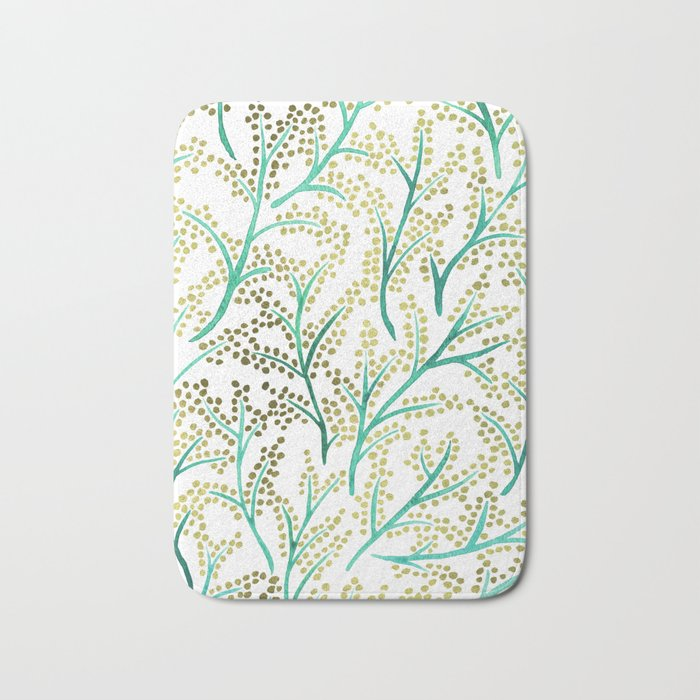 Green & Gold Branches Bath Mat