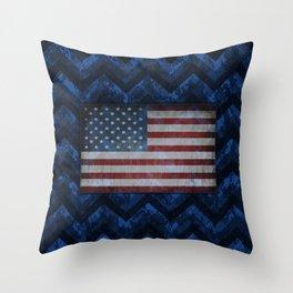 Cobalt Blue Digital Camo Chevrons with American Flag Throw Pillow