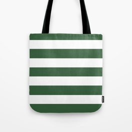 Hunter green -  solid color - white stripes pattern Tote Bag