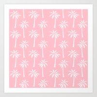 Palm trees pink tropical minimal ocean seaside socal beach life pattern print Art Print