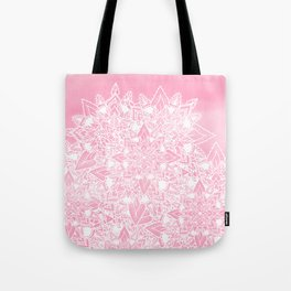 Modern white floral lace mandala pink watercolor illustration pattern Tote Bag