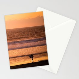 Surfer watching sunset in Southern California Stationery Cards