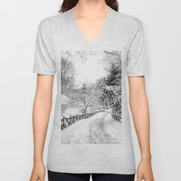 Central Park Winter Path in Shakespeare Garden Unisex V-Neck