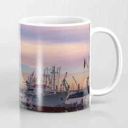 Sunset in the port of Hamburg Coffee Mug