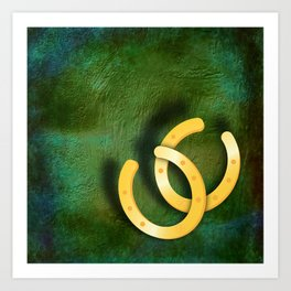 Lucky horseshoes on a textured green background Art Print