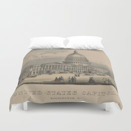 Vintage US Capitol Building Illustration (1872) Duvet Cover