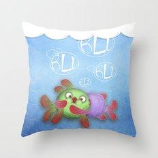 blu blu blu  Throw Pillow