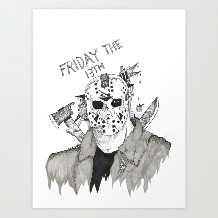 33d9176feab Jason Voorhees Friday The 13th FanArt Art Print by ...