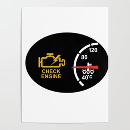 Check Engine Warning Symbol Icon Poster