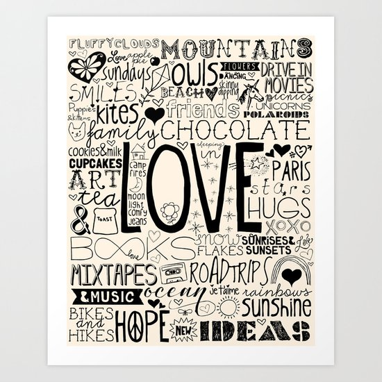 50 Reasons To Be Happy Art Print