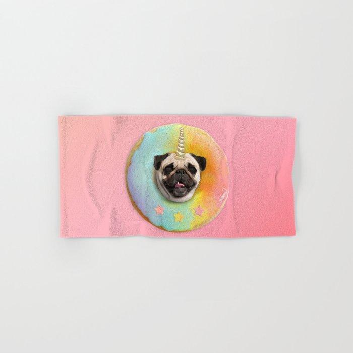 Unicorn Pug Pastel Donut Hand & Bath Towel