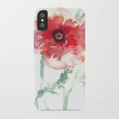 Poppy Watercolor Slim Case iPhone X
