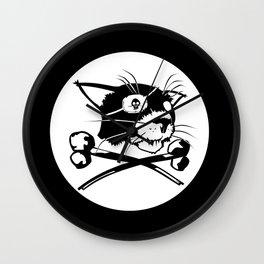 Pirate Cat Flag Wall Clock