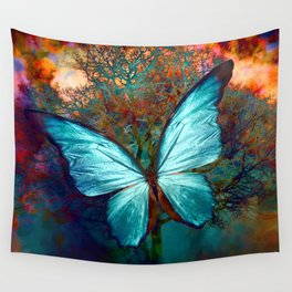The Blue butterfly Wall Tapestry