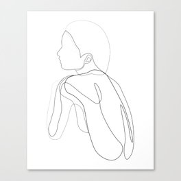 shelter - single line drawing of women's back Canvas Print