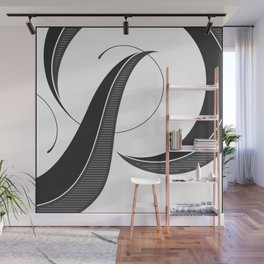 Letter P - Script Lettering Cropped Design Wall Mural