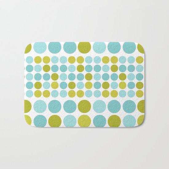 The pattern Green -  blue  polka dots. Bath Mat
