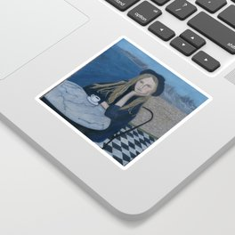 Girl with cafe and sea montain view realism Sticker