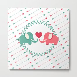 Elephant Love with Arrows Metal Print
