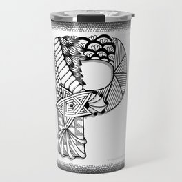 Zentangle P Monogram Alphabet Initials Travel Mug