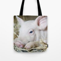 piglet Tote Bags featuring Piglet by Ruta Dok