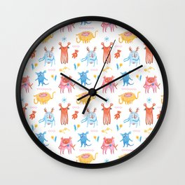 Friendly and Cute Monster crew pattern, hand drawn Wall Clock