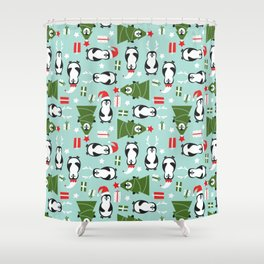 Penguin Party Pattern Shower Curtain
