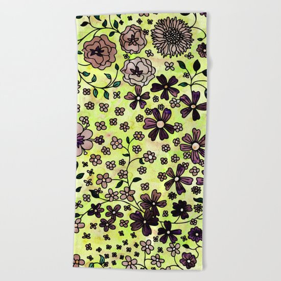 Brown Small Flowers Beach Towel
