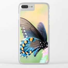 Spicebush Swallowtail Butterfly on Lantana Clear iPhone Case